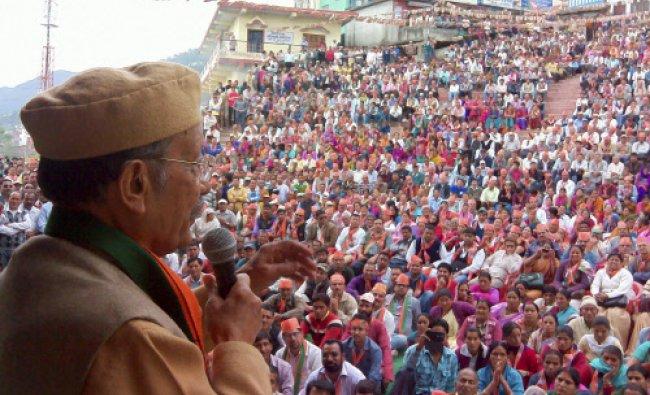 BJP leader BC Khanduri addresses election rally in Pauri, Uttarakhand...