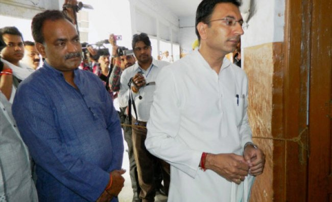 Congress candidate Jitin Prasada at polling station during 5th phase of polling...