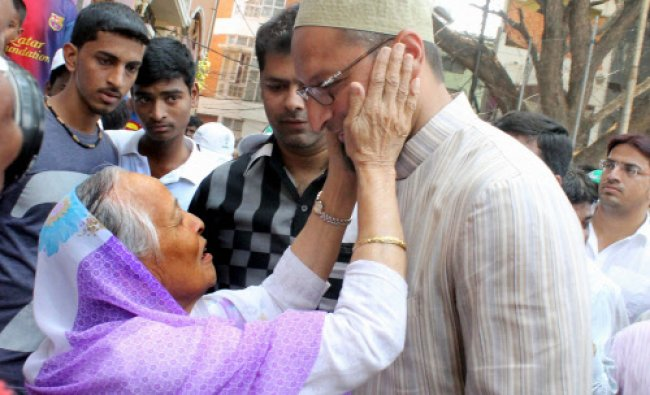 MIM President Asaduddin Owaisi during his election campaign at Malapally in Hyderabad...
