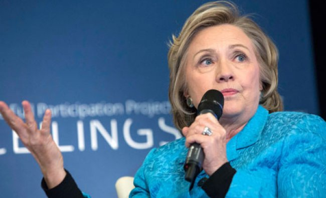 Former U.S. Secretary of State Hillary Clinton participates in A No Ceilings Conversation at...