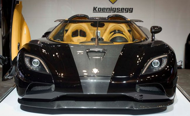 A Koenigsegg supercar is seen during a press event at the Jacob Javits Convention Center during...