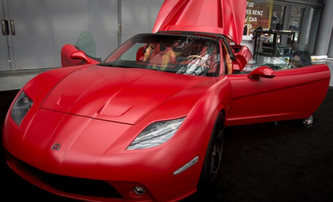 A Soleil supercar is seen during a press event at the Jacob Javits Convention Center during the...