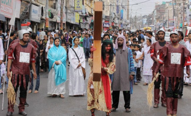 Christian devotees take part in a \'Good Friday\' procession in Jammu...