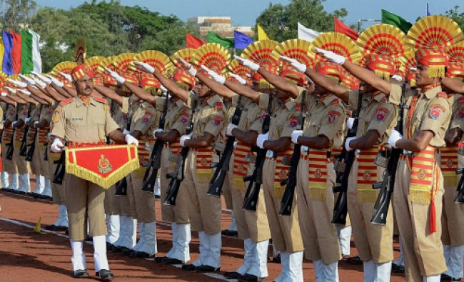 SSB soldiers during the passing out parade of the 6th batch at Sashastra Seema Bal...