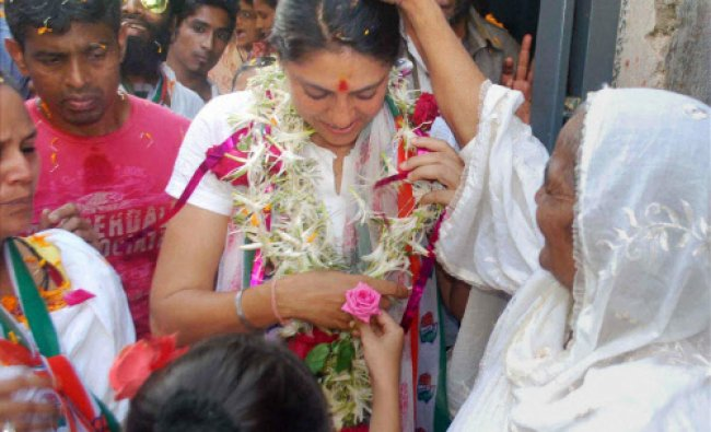 Congress MP and candidate Priya Dutt during an election Campaign in Mumbai...