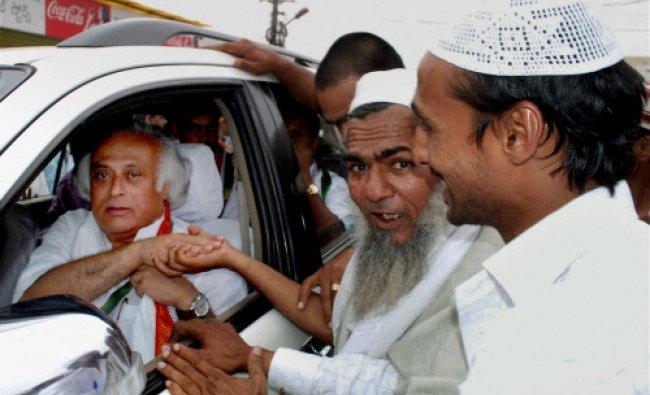 Senior Congress leader and Union minister Jairam Ramesh interacts with muslim people...