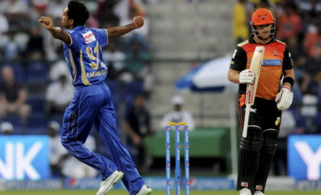 Dhawal Kulkarni of the Rajatshan Royals celebrates the wicket of Aaron Finch...