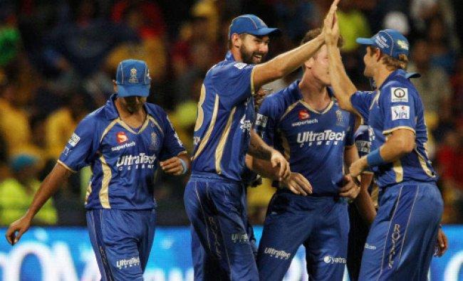 Kane Richardson of the Rajatshan Royals celebrates the wicket of Shikhar Dhawan...