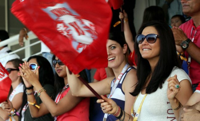 Preity Zinta owner of Kings XI Punjab watches an IPL 7 match of her team against Chennai...