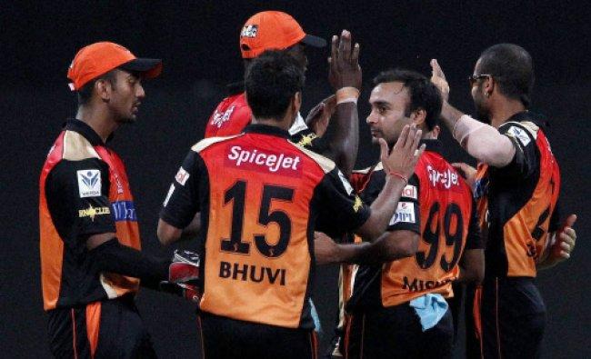 Amit Mishra of the Sunrisers Hyderabad celebrates the wicket of Brad Hodge of the Rajatshan...