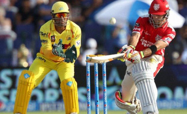 Glenn Maxwell of the Kings X1 Punjab plays a shot during IPL 7 matcha against Chennai Superkings...