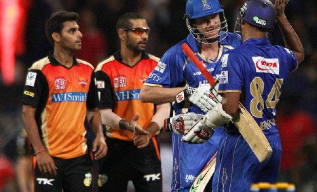 James Faulkner and Stuart Binney of the Rajatshan Royals celebrate the win during an IPL 7 match...
