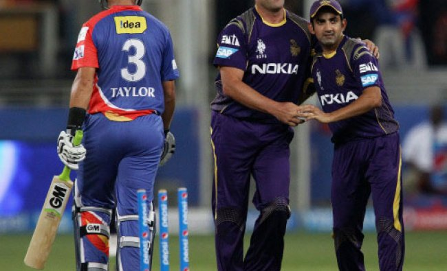 Jacques Kallis of the Kolkata Knight Riders celebrates the wicket of Ross Taylor of the...