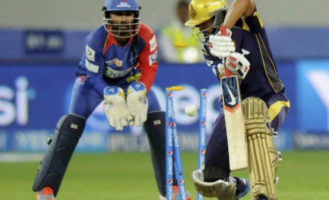Manish Pandey of the Kolkata Knight Riders gets bowled out by Shahbaz Nadeem of the Delhi ...