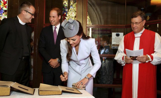Britain\'s Catherine, Duchess of Cambridge, (2nd R) signs the First Fleet Bible and Prayer Book ...
