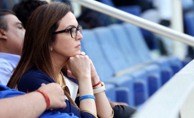 Nita Ambani, owner of Mumbai Indians watching the match between Mumbai Indians and Royal...