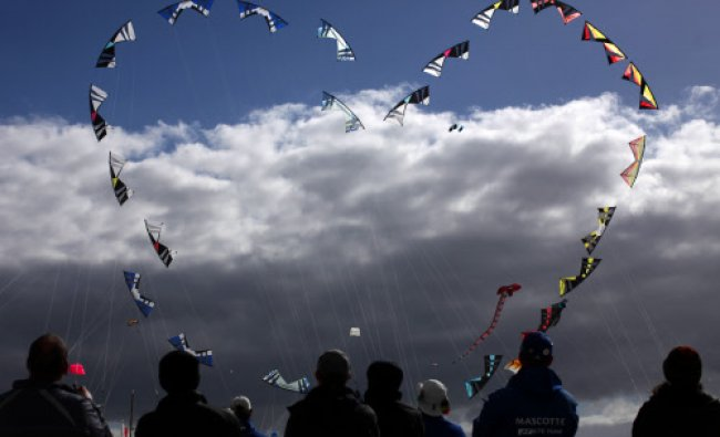 A team perform at the 28th International kite festival in Berck, France...