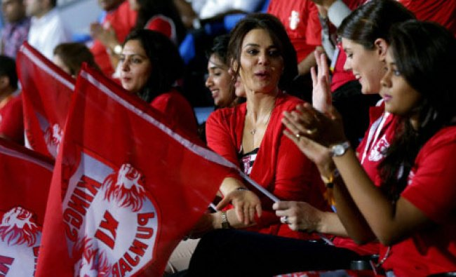 Preity Zinta co-owner of Kings XI Punjab during her team\'s IPL 7 match against Rajasthan ...