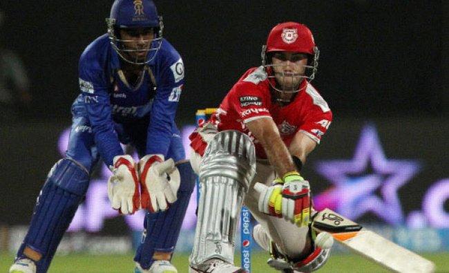 Glenn Maxwell of the Kings X1 Punjab plays a shot during an IPL 7 match against Rajasthan...