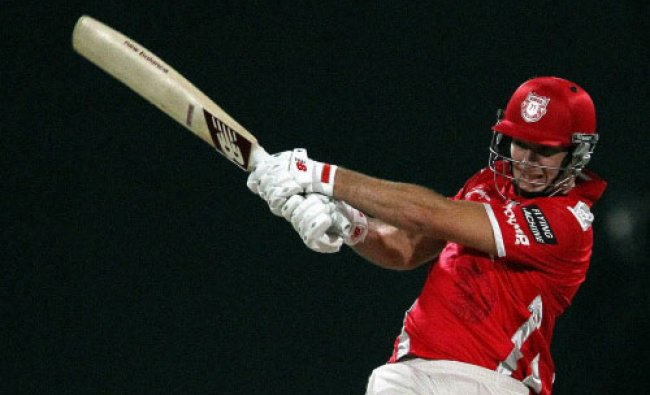 David Miller of the Kings X1 Punjab plays a shot during an IPL 7 match against Rajasthan...
