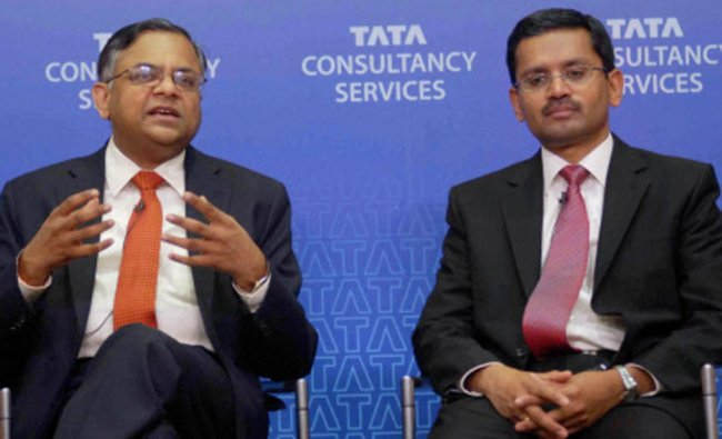 N Chandrasekaran, CEO & MD, Tata Consultancy Services with Rajesh Gopinathan, Chief Financial...
