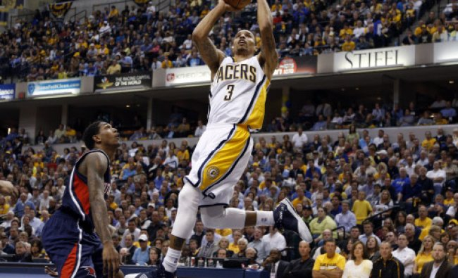 Indianapolis, IN, USA; Indiana Pacers guard George Hill (3) takes a shot against the Atlanta ...