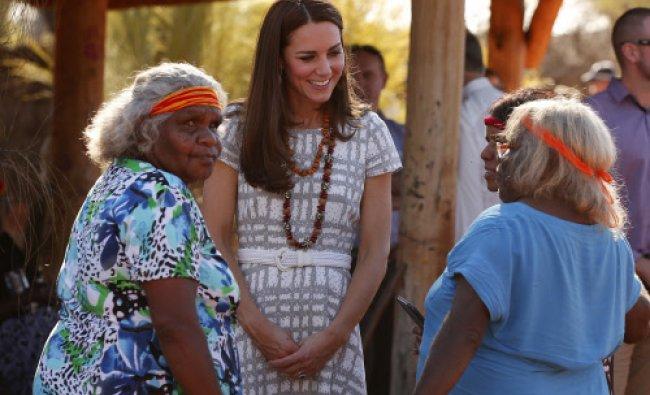 Britain\'s Catherine, Duchess of Cambridge, (C) talks with Aboriginal women during a visit ...