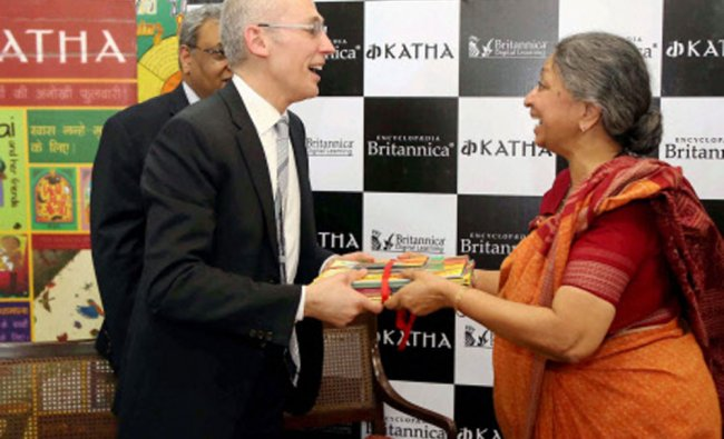 Encyclopaedia Britannica President Jorge Cauz and Geeta Dharmarajan, founder & executive directoR...
