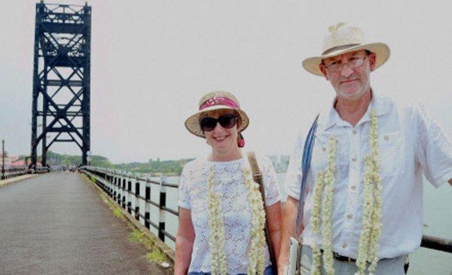Timothy John Bristow, Sir Robert Bristows nephew with his wife Rebecca visits the Harbour Bridge...
