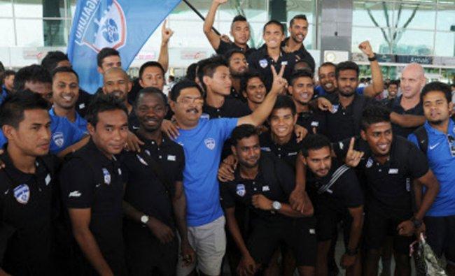 Bengaluru FC player in a Jubilant mood at International Airport,Bengaluru after winning I league...