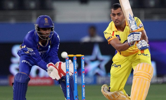 MS Dhoni captain of The Chennai Superkings plays a shot during an IPL 7 match against Rajasthan...