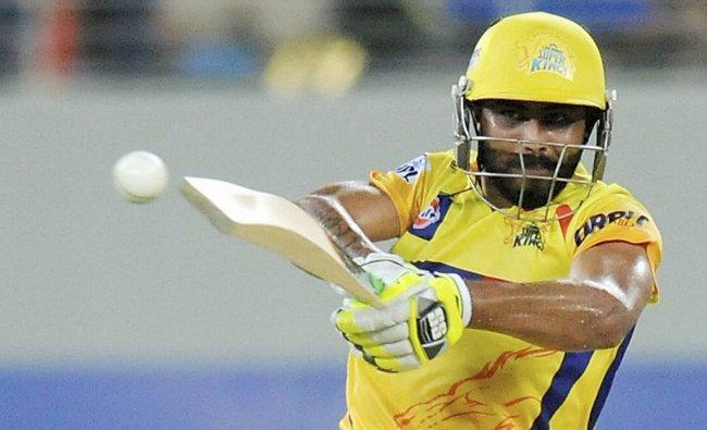 Ravindra Jadeja of The Chennai Super kings plays a shot during an IPL 7 match against Rajasthan...