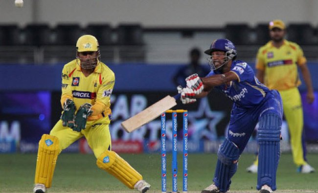 Dhawal Kulkarni of the Rajatshan Royals bats an IPL 7 match against Chennai Superkings ...