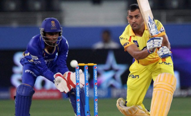 MS Dhoni captain of The Chennai Superkings plays a shot during an IPL 7 match against ...