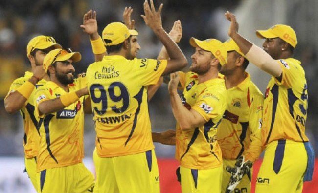 Brendon McCullum of The Chennai Superkings celebrates the wicket of Abhishek Nayar of ...