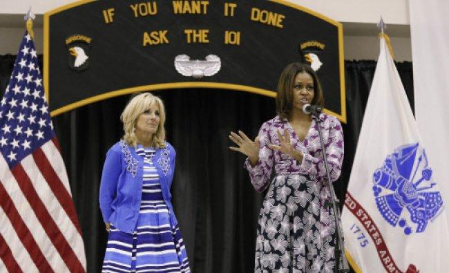 First lady Michelle Obama and Jill Biden, wife of Vice President Joe Biden ...
