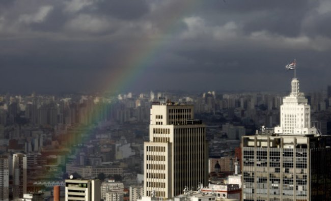 A rainbow appears over the sky of the city of Sao Paulo April 24, 2014. Sao Paulo is one of the...
