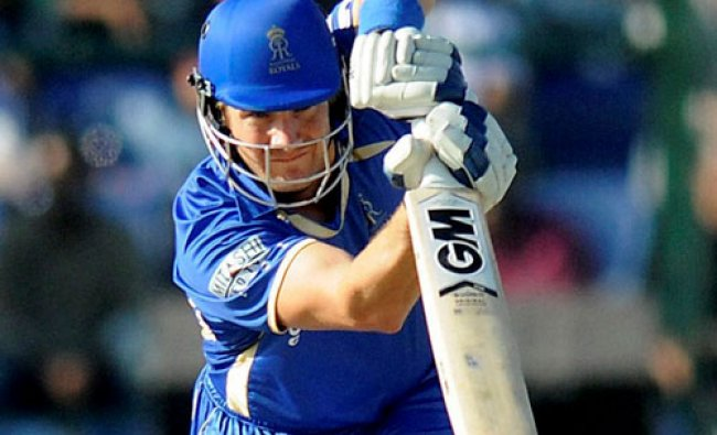 Rajatshan Royals\' Shane Watson plays a shot during the IPL 7 match against Royal Challengers...