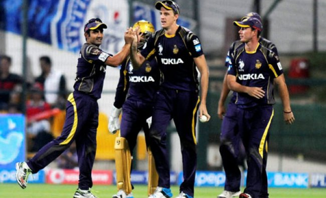 Morne Morkel of the Kolkata Knight Riders celebrates the wicket of David Miller of the Kings X1...