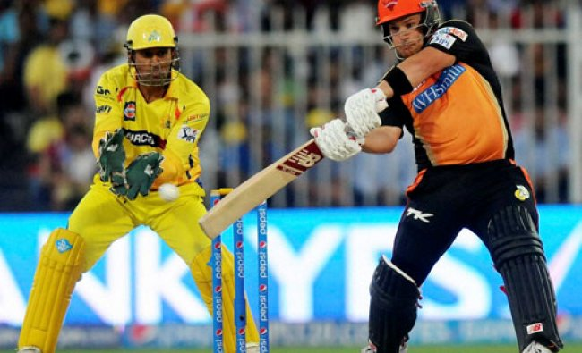 Aaron Finch of the Sunrisers Hyderabad plays a shot during an IPL 7 match against Chennai...