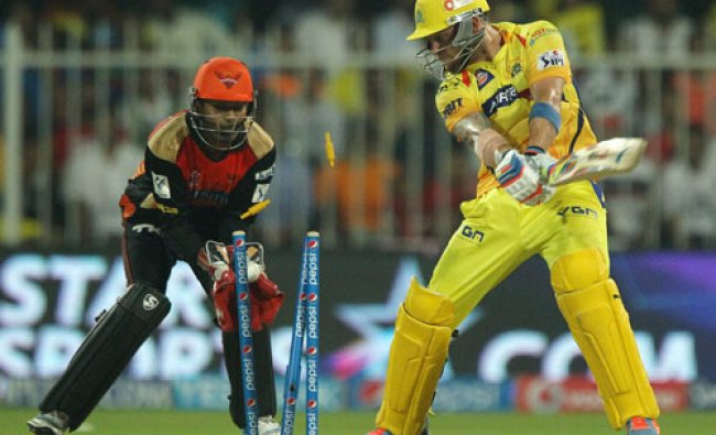 Brendon McCullum of The Chennai Superkings is clean bowled by Karn Sharma of the Sunrisers...