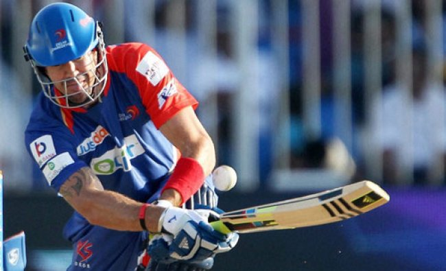 Delhi Daredevils captain Kevin Pietersen plays a shot during an IPL S7 match against Mumbai...