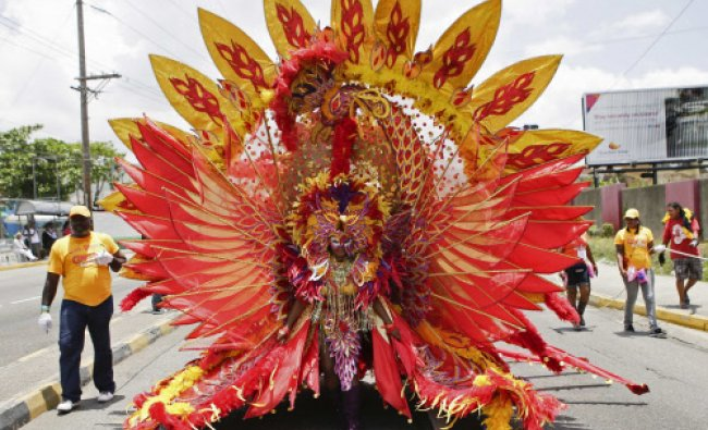 The Carnival Queen wearing her \'Phoenix\' costume is pictured during the Jamaica Carnival ...