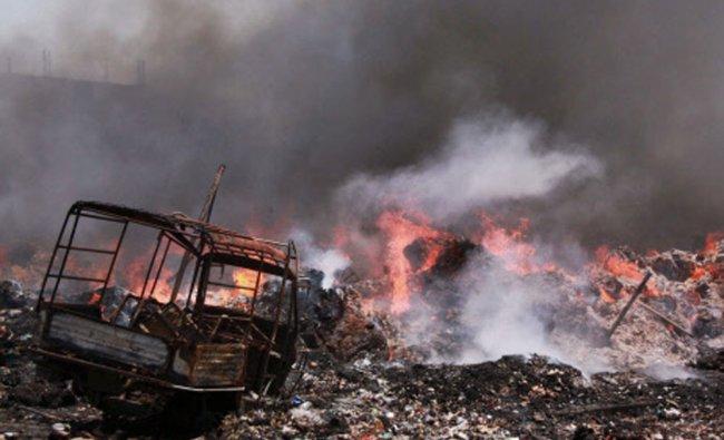 A blazing fire at a waste godown in Kapashera, Gurgaon-Delhi border...