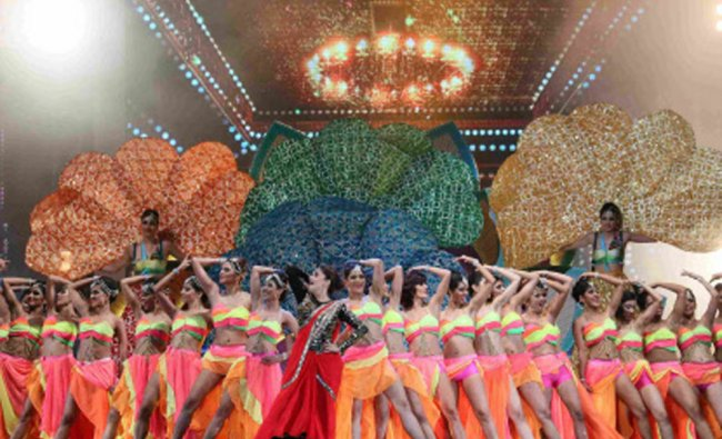 Madhuri Dixit performs during the 15th International Indian Film Academy Awards in Tampa, Florida...