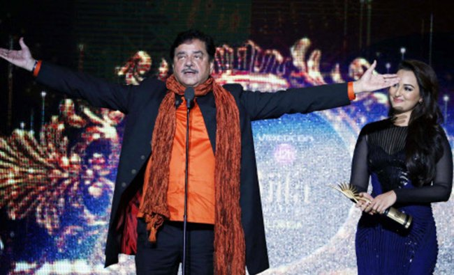 Legend Bollywood Actor Shatrughan Sinha arrives with his daughter Sonakshi Sinha to receive...