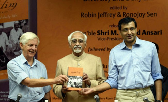Vice President Hamid Ansari releasing the book titled Being Muslim in South Asia...