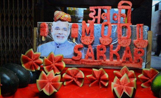 A fruit seller campaigns for Narendra Modi in Jodhpur...