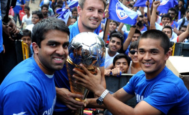 The fans of I-League Champions Bengaluru FC during a victory parade