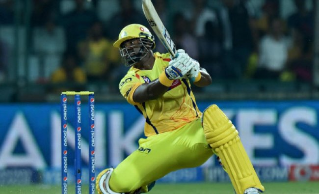 Dwayne Smith plays a shot against Delhi Daredevils during an IPL-7 match between CSK and DD...